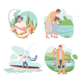Zestaw ilustracji ludzi połowów