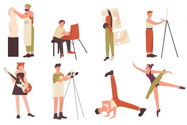 Zestaw ilustracji ludzi twórczego zawodu artysty. płaskie postacie artystyczne z kreskówek, artysta rzeźbiarz lub twórca malarz-rzemieślnik, muzyk i tancerz w pozie tanecznej na białym tle