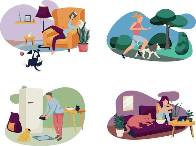 Zestaw ilustracji ludzi z psami