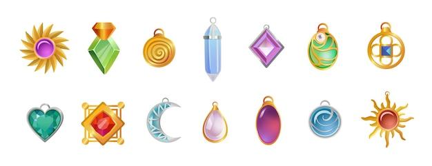 Zestaw ilustracji magicznych amuletów o różnych kształtach