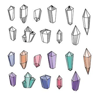 Zestaw ilustracji magicznych kryształów