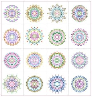 Zestaw ilustracji mandali