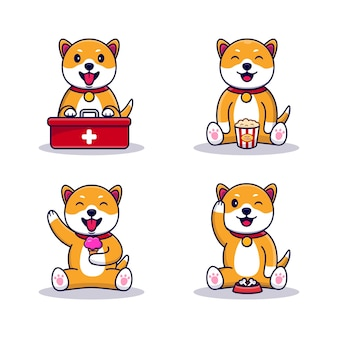 Zestaw ilustracji maskotka kreskówka pies ładny