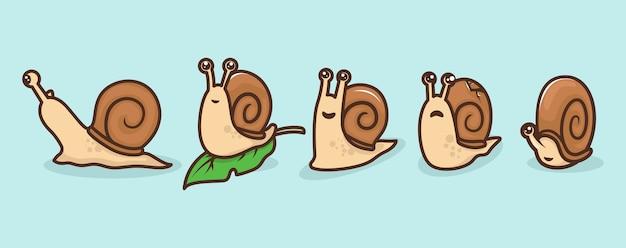 Zestaw ilustracji maskotka ładny ślimak
