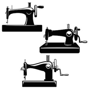 Zestaw ilustracji maszyn do szycia. element plakatu, karty, logo, godła, znaku. wizerunek
