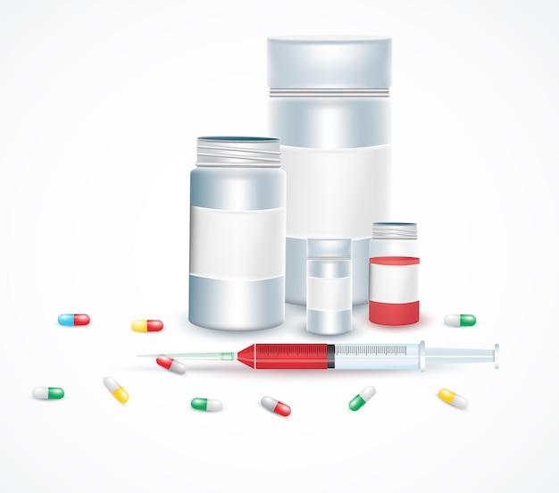 Zestaw ilustracji medyczne strzykawki. zastrzyk medyczny, szczepionka do opieki i leczenia.
