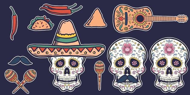 Zestaw ilustracji meksykańskiej sztuki