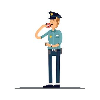Zestaw ilustracji męski charakter policjanta. policjant w mundurze stoi i je pączka. znaki bezpieczeństwa publicznego znaków na białym tle.