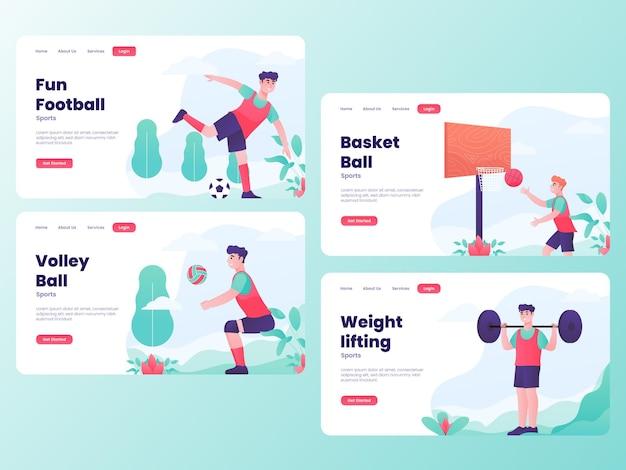 Zestaw ilustracji męskich sportów z koncepcją strony internetowej