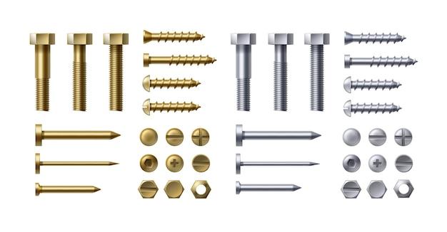 Zestaw ilustracji metalowych śrub