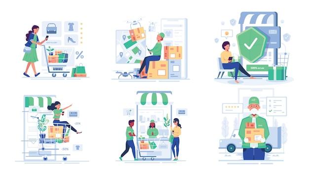 Zestaw ilustracji mężczyzny i kobiety cieszyć się zakupami online w stylu postaci z kreskówek
