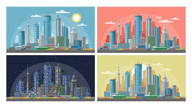 Zestaw ilustracji miejskiego miasta, poranek, zachód słońca, nocny i nocny pejzaż miejski, panoramy w różnych porach dnia.