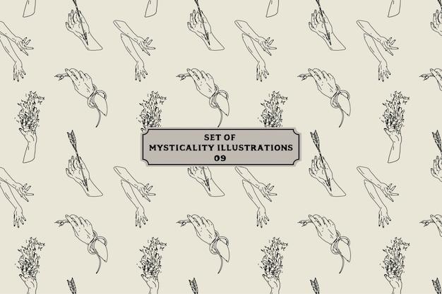 Zestaw ilustracji mistyczności