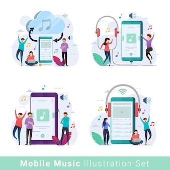 Zestaw ilustracji mobilnego odtwarzacza muzyki