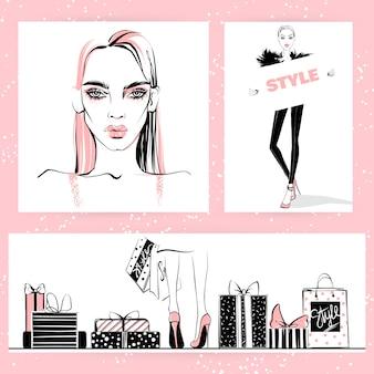 Zestaw ilustracji mody. wektorowe stylowe dziewczyny.