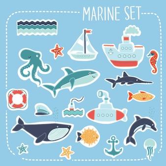 Zestaw ilustracji morskich karty ślubne