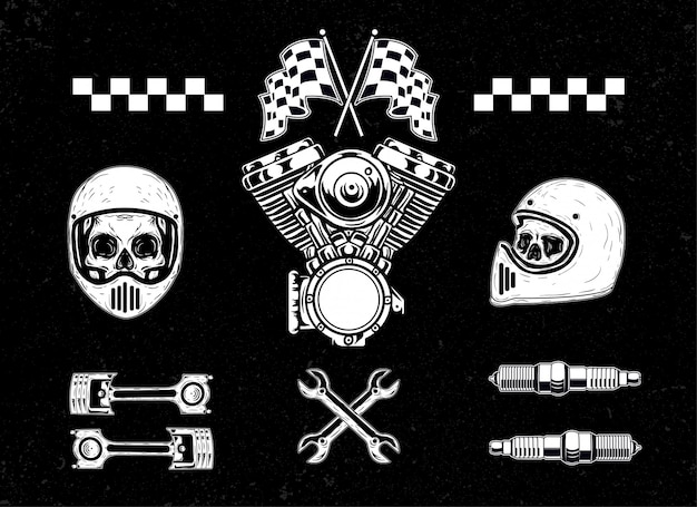Zestaw ilustracji motocykl zestaw