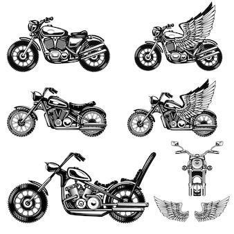 Zestaw ilustracji motocykla. element projektu logo, etykiety, godła, znaku, plakatu. wizerunek