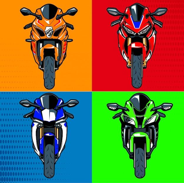 Zestaw ilustracji motocykla