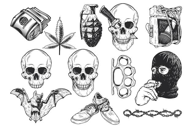 Zestaw ilustracji na białym tle elementów czaszki i gangstera