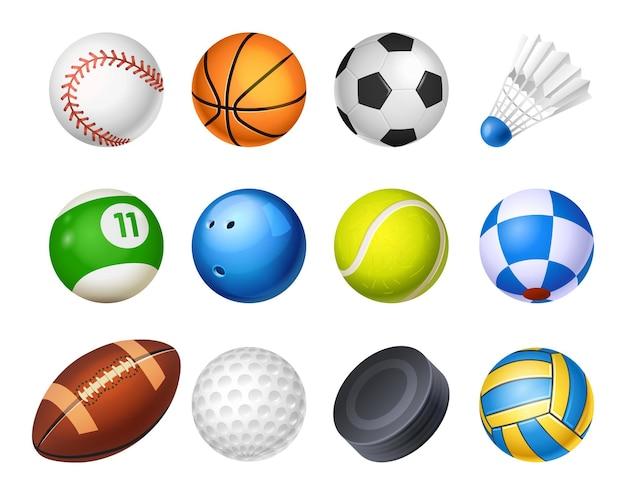 Zestaw ilustracji na białym tle realistyczne piłki sportowe