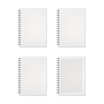 Zestaw ilustracji na białym tle realistyczne zeszyty