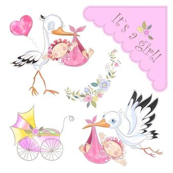 Zestaw ilustracji na narodziny dziewczynki. bocian z dzieckiem. baby shower