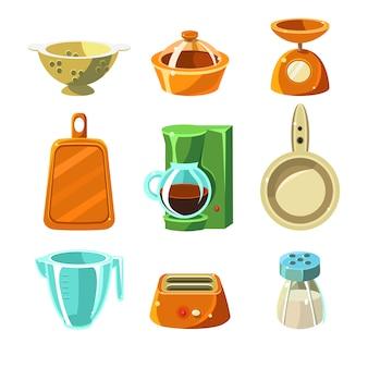 Zestaw ilustracji naczynia kuchenne