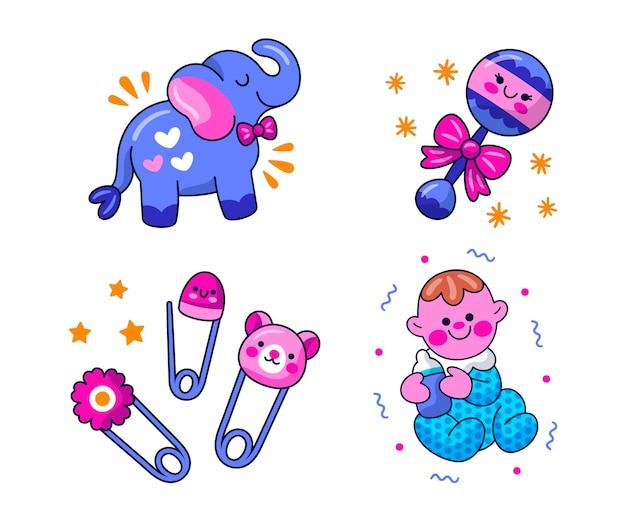 Zestaw ilustracji naklejki baby shower