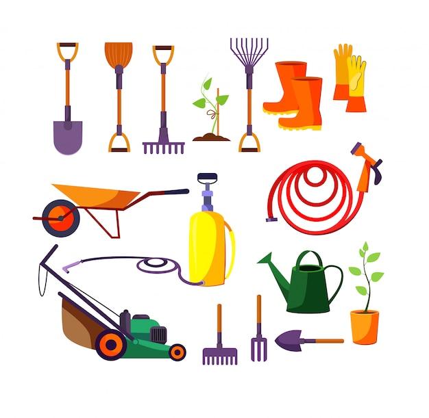 Zestaw ilustracji narzędzi ogrodniczych