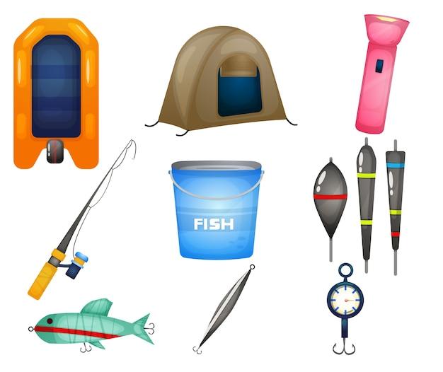 Zestaw ilustracji narzędzi połowowych.