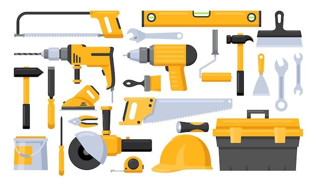 Zestaw ilustracji narzędzi pracownika naprawy