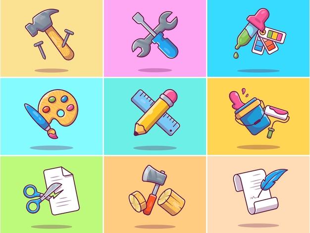 Zestaw ilustracji narzędzia roboczego.