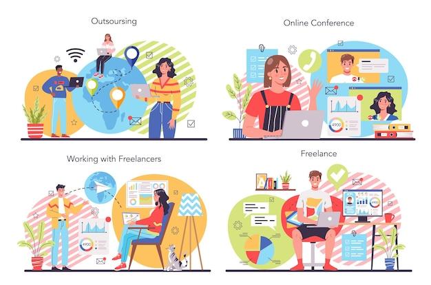 Zestaw ilustracji niezależnych lub outsourcingowych