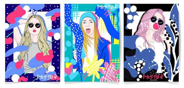 Zestaw ilustracji nowoczesnej dziewczyny