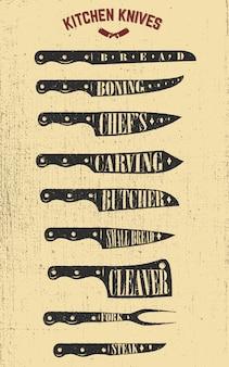 Zestaw ilustracji noże kuchenne rysowane ręcznie. elementy plakatu, menu, ulotki. ilustracje