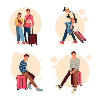 Zestaw ilustracji o charakterze turystycznym z jego działalności walizki, płaski kształt koncepcji