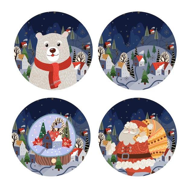 Zestaw ilustracji o tematyce bożonarodzeniowej