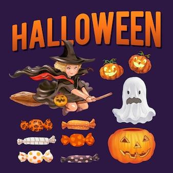 Zestaw ilustracji o tematyce Halloween