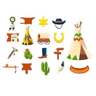 Zestaw ilustracji obiektów kowbojskich