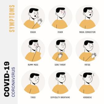 Zestaw ilustracji objawy koronawirusa