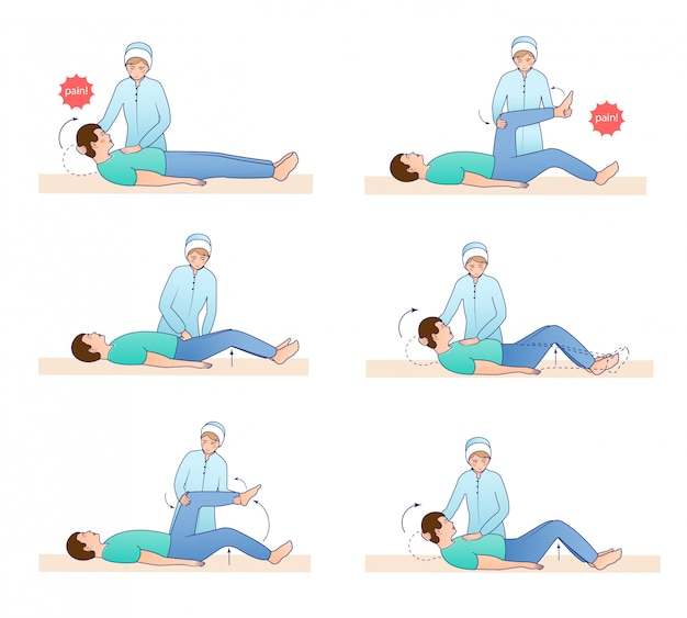 Zestaw ilustracji objawy meningeal