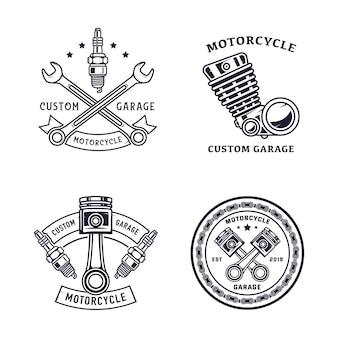 Zestaw ilustracji odznak motocyklowych