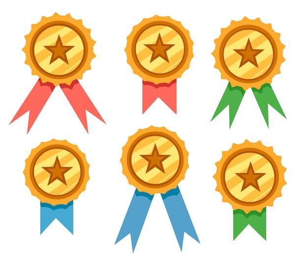 Zestaw ilustracji odznaki złotej nagrody