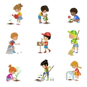 Zestaw ilustracji ogrodnictwo dla dzieci