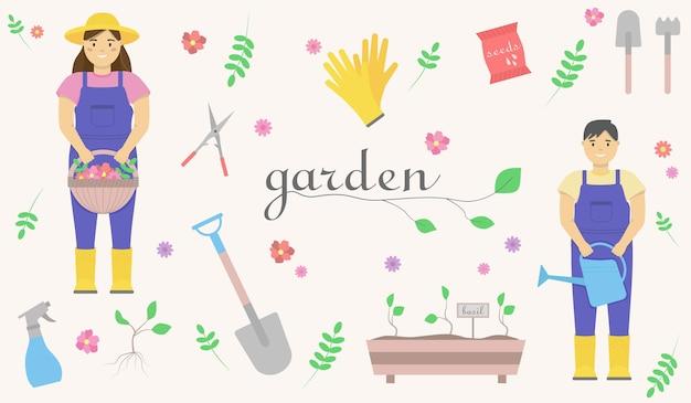 Zestaw ilustracji ogrodowych przedstawiających kobietę w kaloszach z koszem kwiatów w dłoniach, mężczyznę w kombinezonie z konewką w rękach, łopatę, nasiona, gumowe rękawiczki.