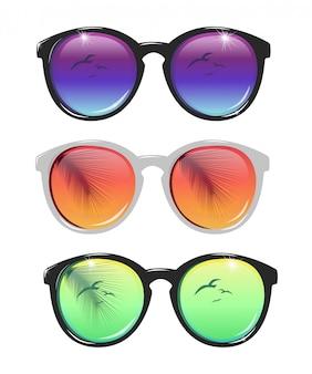 Zestaw ilustracji okulary przeciwsłoneczne