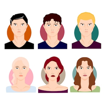 Zestaw ilustracji osób. mężczyzna, chłopiec mężczyzna, kobieta dziewczyna kobieta w stylu kreskówki z różnymi kolorami włosów i stylami. ilustracja wektorowa postaci.