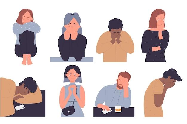 Zestaw ilustracji osób przygnębionych.