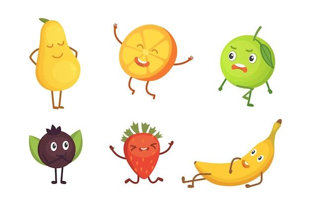 Zestaw ilustracji owoców kreskówka z zabawnymi postaciami
